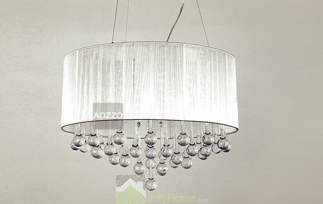 Crystal chandelier chandeliers with large white shade modern pendant lighting other by - White chandelier with shades ...