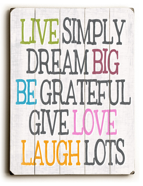 Live simply dream big wooden sign contemporary novelty for Live simply wall art