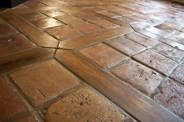 Antique reclaimed french terracotta oak floor inlay for Antique hardwood flooring
