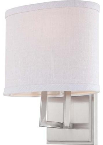 Bathroom Vanity Lights With Fabric Shades : Nuvo Lighting 60/4751 Gemini 1 Light Bathroom Fixture w/ Slate Gray Fabric Shade - Contemporary ...