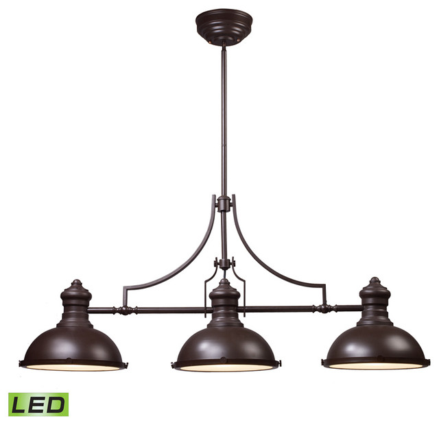 Chadwick 3 Light Billiard Island Light Oiled Bronze Traditional Pool Tab