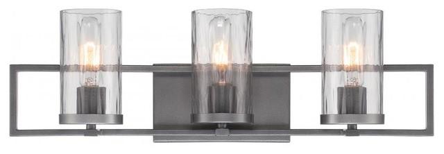Vanity Light Bar Shade : 3 Light Charcoal Bath Bar with Rain Glass Shade Reversible Mounting - Bathroom Vanity Lighting ...