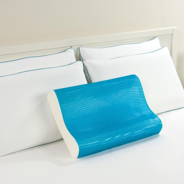 Memory Foam Gel Pillow From Modern Home : Comfort Memories Blue Wave Memory Foam and Gel Contour Pillow - Contemporary - Decorative ...
