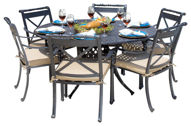 Carrolton 6 Person Cast Aluminum Patio Dining Set With Round Table Outdoor Dining Sets By