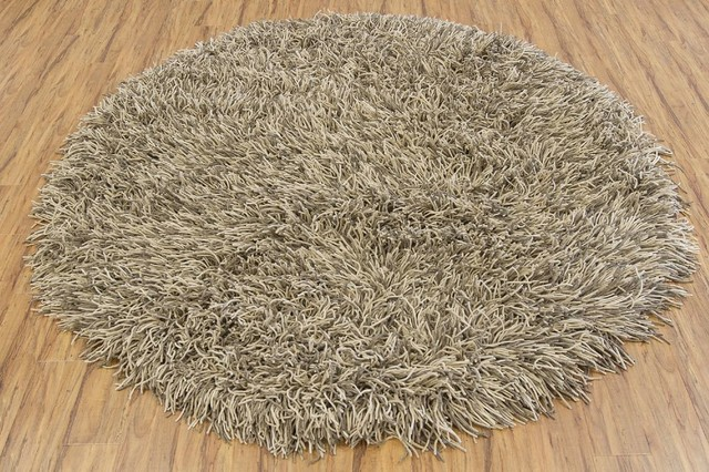 shag cyrah round 7 39 9 round light brown white area rug. Black Bedroom Furniture Sets. Home Design Ideas
