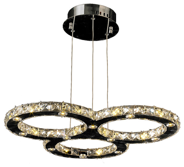 Led 3 Ring Chandelier: Galaxy LED 3-Ring Crystal Chandelier