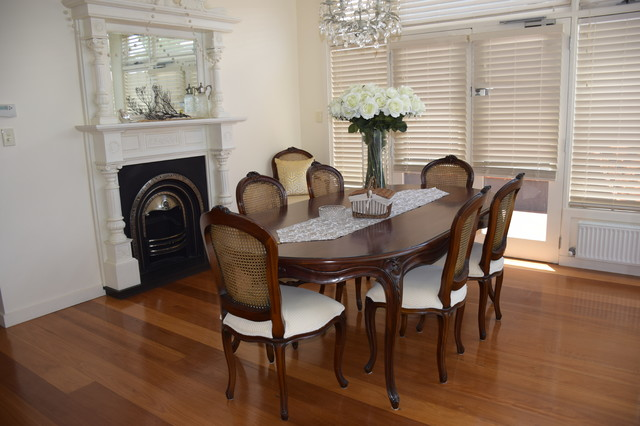 Williamstown traditional dining room with fireplace for Traditional dining room fireplace