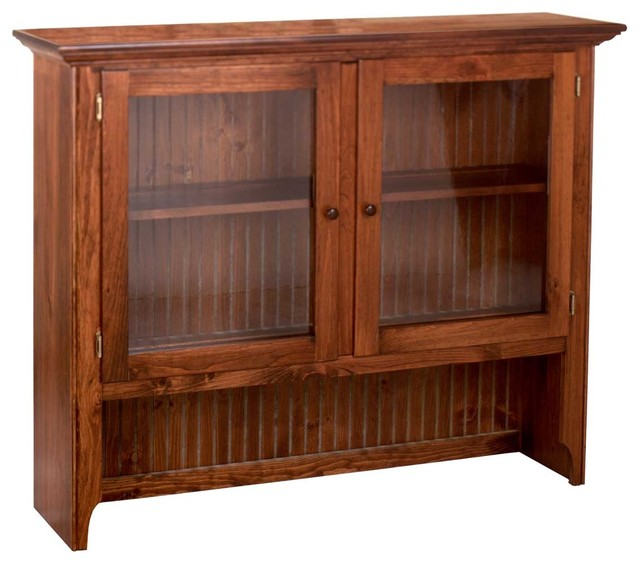 antique pine cabinet with glass doors 1