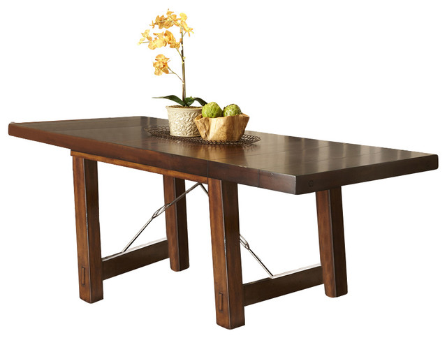 Rectangle Trestle Base Dining Table In Mahogany Stain