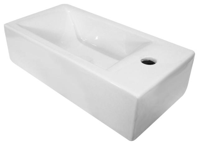 Alfi Small White Modern Rectangular Wall Mounted Ceramic Bathroom Sink Basin Contemporary