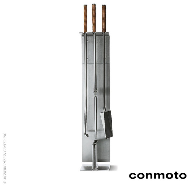 Conmoto Fireside Tool With Stand Set Of 3 Modern Fireplace Accessories Los Angeles By
