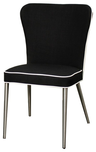 Harper Fabric Chair w/Stainless Steel Legs, Black, Set of 4 - Transitional - Dining Chairs - by ...
