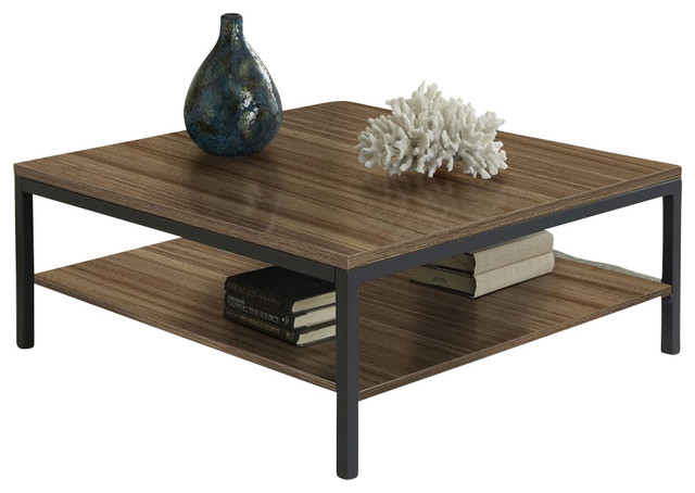 Jesper 100 Parsons Collection Square Coffee Table W Shelf Walnut Contemporary Coffee