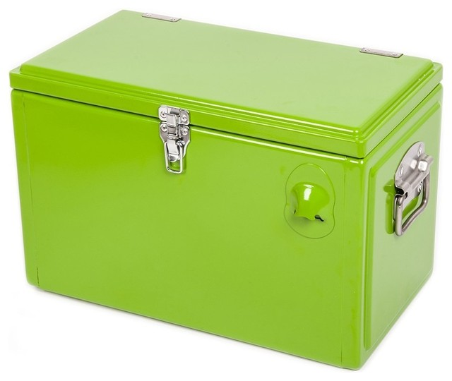 HIO 20 Qt Steel Cooler Lunch Box, Outdoor Patio Cooler, Retro Style Cooler, Gree - Traditional ...