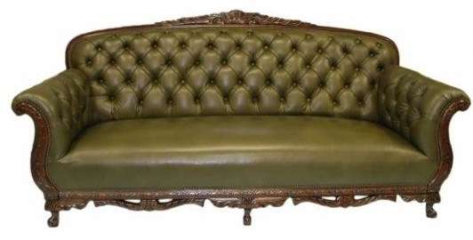 Phineas Leather Sofa Olive Green Victorian Sofas By
