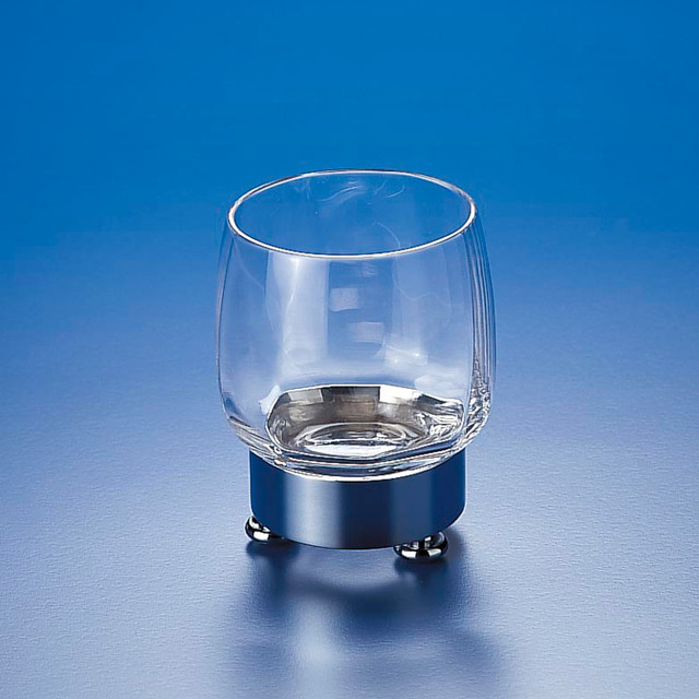 Round clear crystal glass tumbler contemporary for Clear bathroom accessories