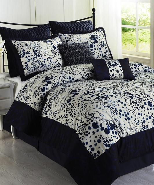 Black white splash comforter set modern comforters - White and black comforter sets ...