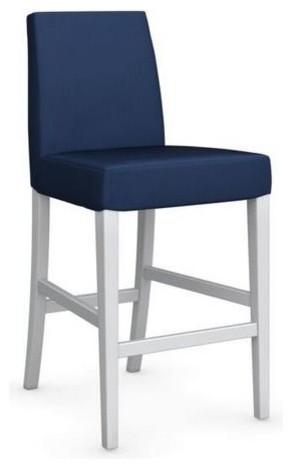 chaise de bar latina de calligaris pi tement h tre laqu blanc assise tissu bleu contemporain. Black Bedroom Furniture Sets. Home Design Ideas