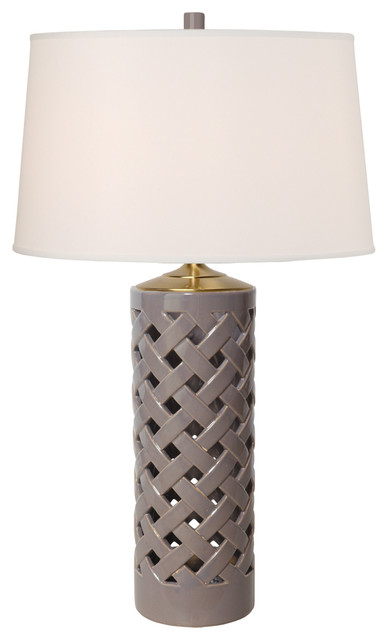 Gray Lamp With Tall Cylinder Vase