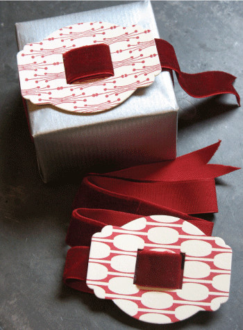 Red Letterpress Buckle with Velvet Ribbon - Traditional - Fabric Trim - by d.Sharp