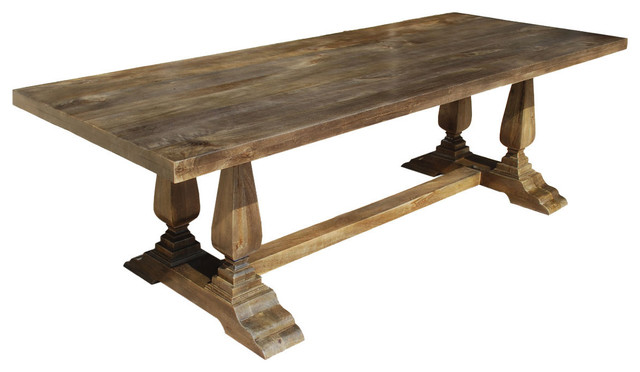 Nottingham rustic solid wood double baluster trestle for Wood balusters for tables
