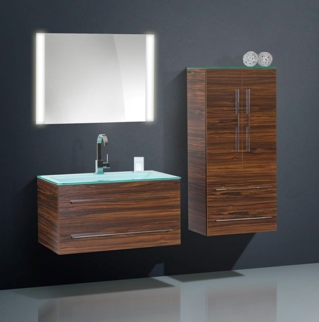 High quality modern bathroom cabinet with glass countertop for Bathroom cabinets modern
