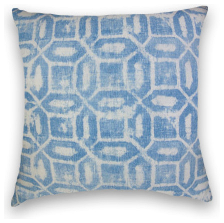 Blue Geometric Throw, 20x20 Pillow Cover with Insert - Traditional - Decorative Pillows - by ...
