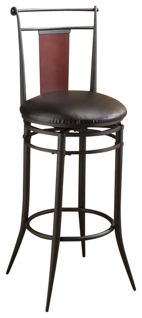 Hillsdale Midtown Swivel Wood Back Bar Stool Black Dark