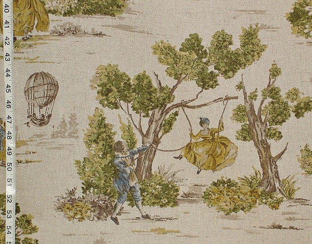 Yellow gold blue toile fabric french country vintage look sample