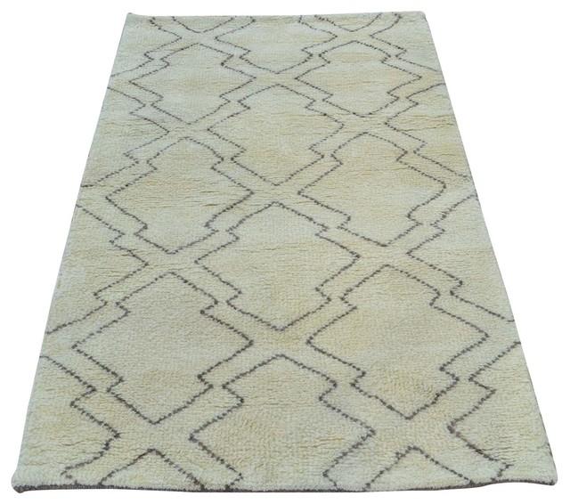 Ivory modern moroccan berber handmade 100 wool oriental for Wool berber area rug