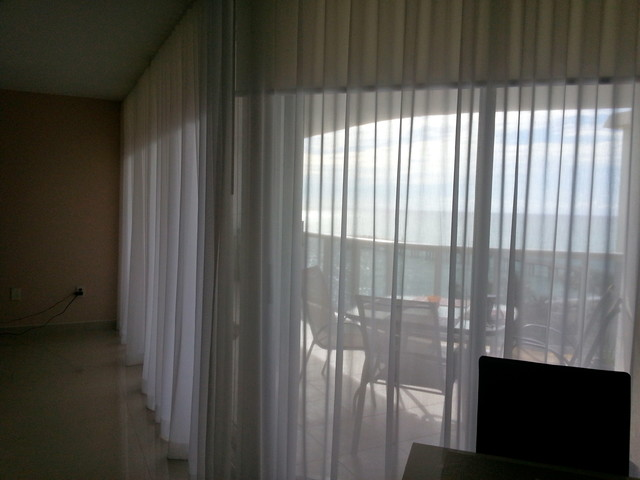 Victoria White Sheer Panels And Roller Shades Beach Style Miami