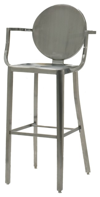 innerspace brushed stainless steel round back bar height stool contemporary bar stools and. Black Bedroom Furniture Sets. Home Design Ideas