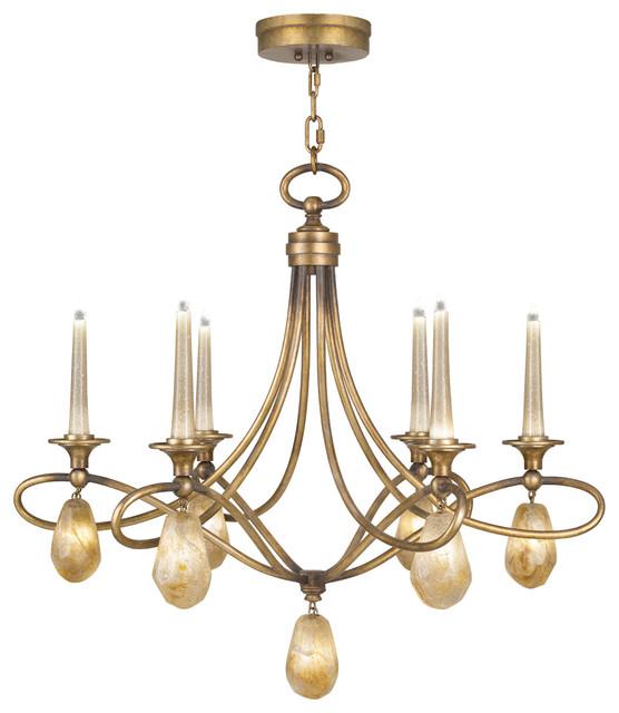 Fine Art Lamps Quartz Iron Gold Natural Quartz 6 Light