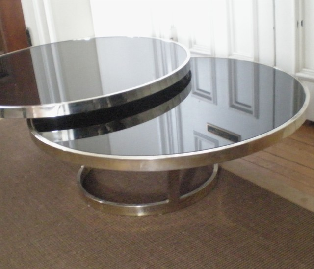 Modern Chrome And Black Glass Circular Coffee Table Modern Coffee Tables New York By