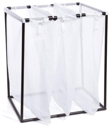 bronze triple laundry bag stand with white mesh bags contemporain panier linge par organize. Black Bedroom Furniture Sets. Home Design Ideas