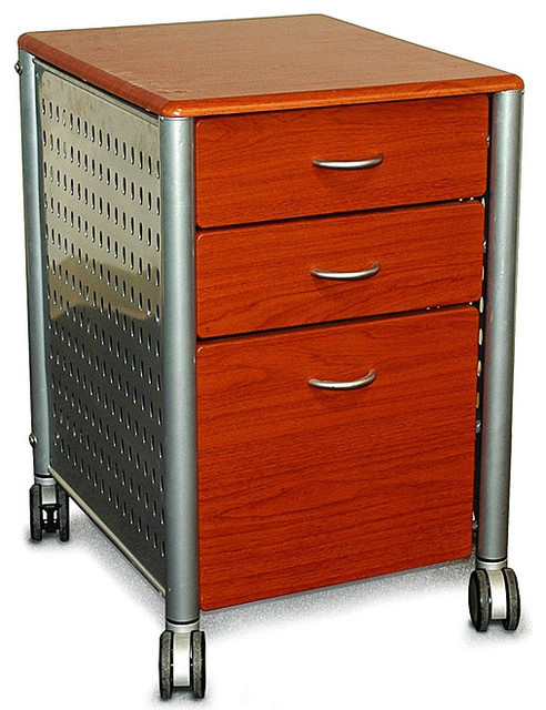 Modern 3-Drawer Filing Cabinet With Casters, Cherry Wood Finish - Contemporary - Filing Cabinets ...
