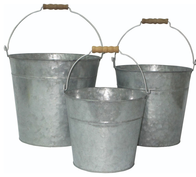 Cheungs vintage set of 3 galvanized metal bucket with for Old metal buckets