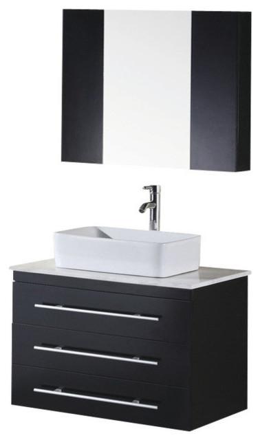 Portland 30 Single Sink Wall Mount Vanity Set Espresso Modern Bathroom Vanities And Sink