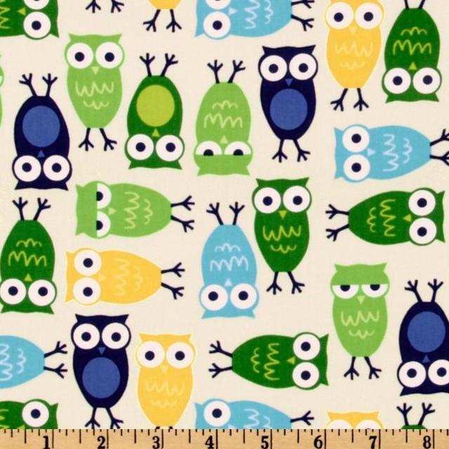 Urban zoologie owls fabric ivory modern fabric by - Pasqualetti home decor ...