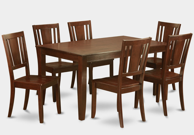 7Pc Dudley 36 X 60 Table And Dudley 6 Wood Seat Chairs In Mahogany Mo