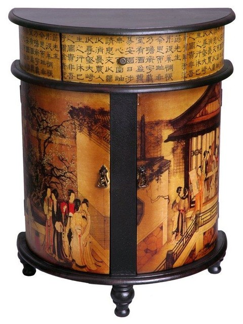 Family Gathering Round Front Cabinet - Asian - Accent Chests And Cabinets - by Oriental Furniture