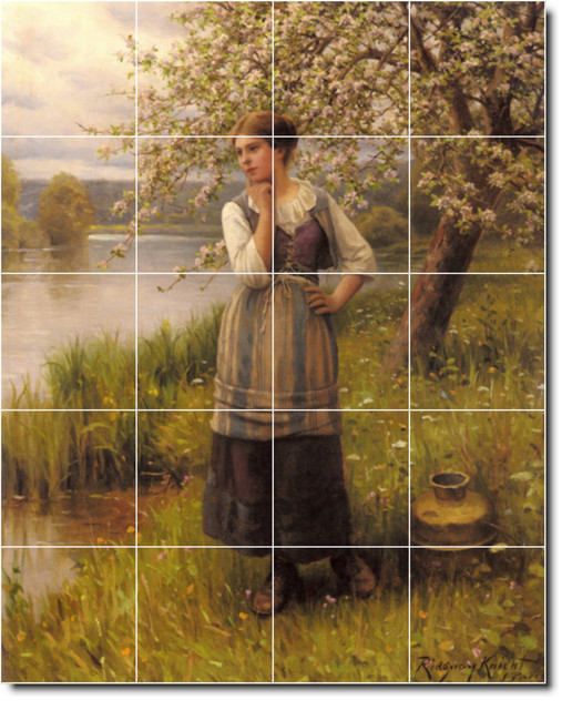 Beneath the apple tree tile mural by daniel ridgway knight for Apple tree mural