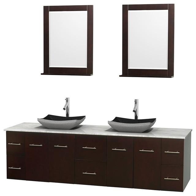 Bath Expo Showroom  Double Bathroom Vanity White Carrera Marble Countertop Four Mirror