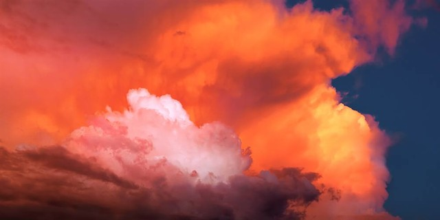 Multi colored clouds at sunset panoramic fabric wall mural for Cloud mural wallpaper