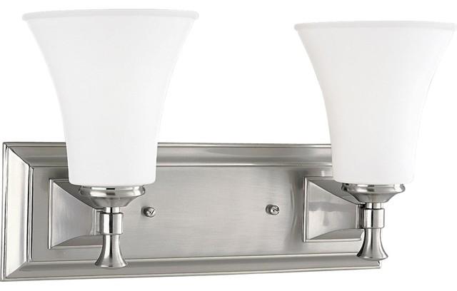 Fairfield 2 light brushed nickel bath vanity light di - Lampade a parete per bagno ...