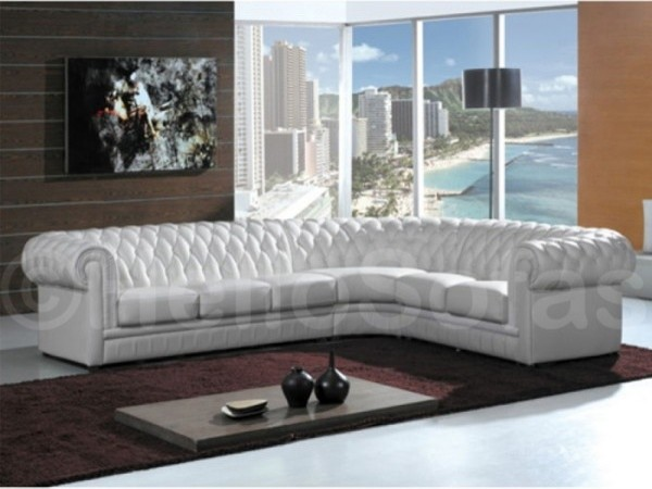 York Chesterfield White Leather Corner Sofa Traditional
