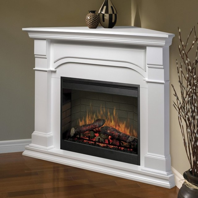 Dimplex oxford corner electric fireplace smp 195c w st for Indoor corner fireplace