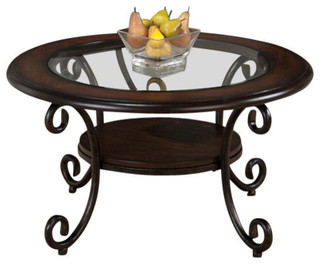 Jofran 607 2 36 Inch Round Cocktail Table W Tempered Glass Insert Metal Base Traditional