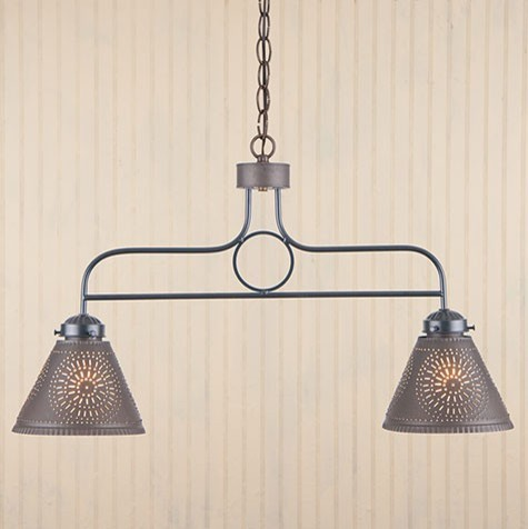 2 arm kitchen island pendant light in black for Traditional kitchen pendant lights