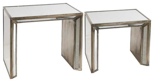 joelle wood and glass mirrored nesting tables set of 2